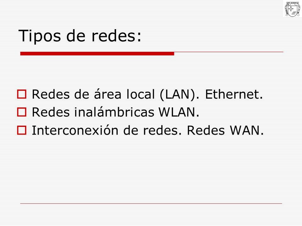 Tipos de redes: Redes de área local (LAN). Ethernet. Redes inalámbricas WLAN. Interconexión de redes. Redes WAN.