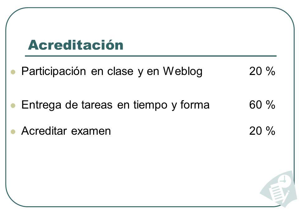 Acreditación Participación en clase y en Weblog20 % Entrega de tareas en tiempo y forma60 % Acreditar examen20 %