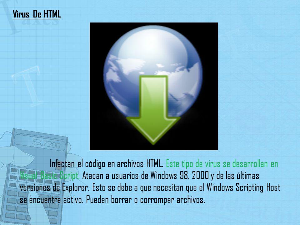 Infectan el código en archivos HTML. Este tipo de virus se desarrollan en Visual Basic Script. Atacan a usuarios de Windows 98, 2000 y de las últimas