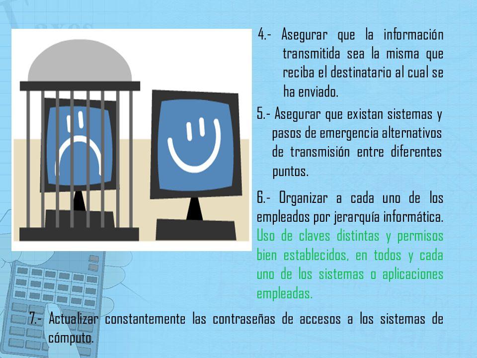 4.- Asegurar que la información transmitida sea la misma que reciba el destinatario al cual se ha enviado. 5.- Asegurar que existan sistemas y pasos d