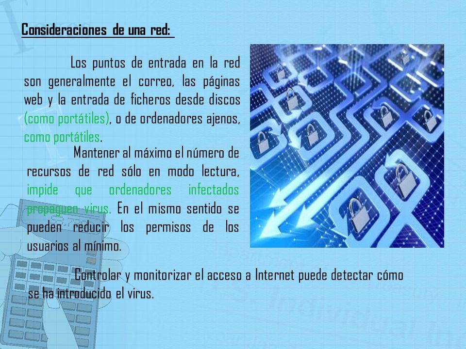 Los puntos de entrada en la red son generalmente el correo, las páginas web y la entrada de ficheros desde discos (como portátiles), o de ordenadores