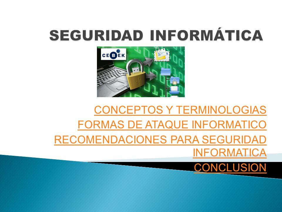 CONCEPTOS Y TERMINOLOGIAS FORMAS DE ATAQUE INFORMATICO RECOMENDACIONES PARA SEGURIDAD INFORMATICA CONCLUSION