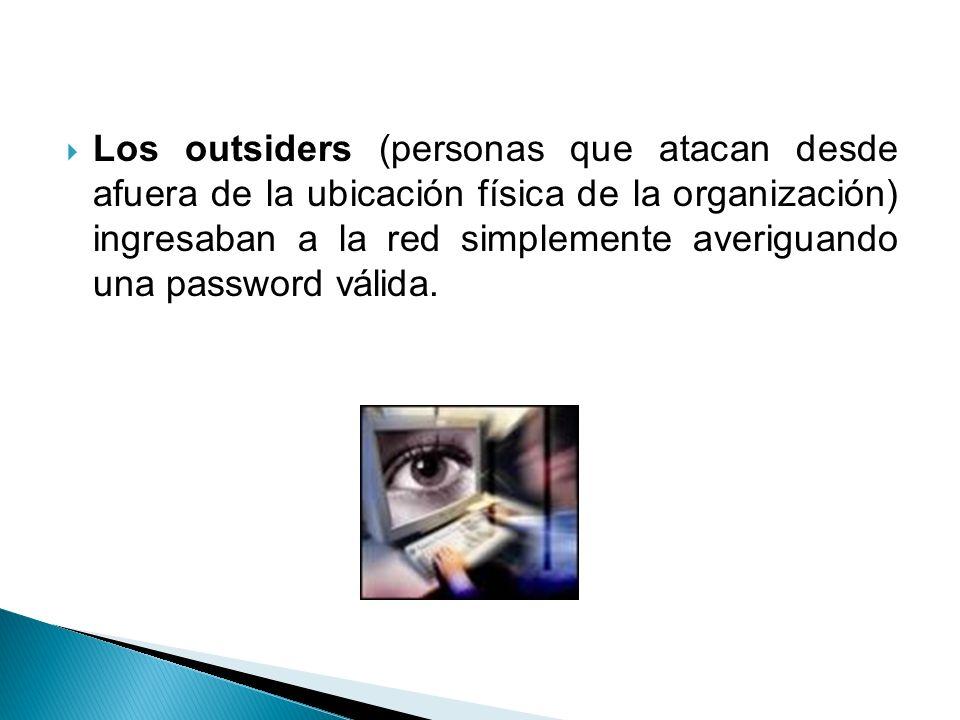 Los outsiders (personas que atacan desde afuera de la ubicación física de la organización) ingresaban a la red simplemente averiguando una password vá