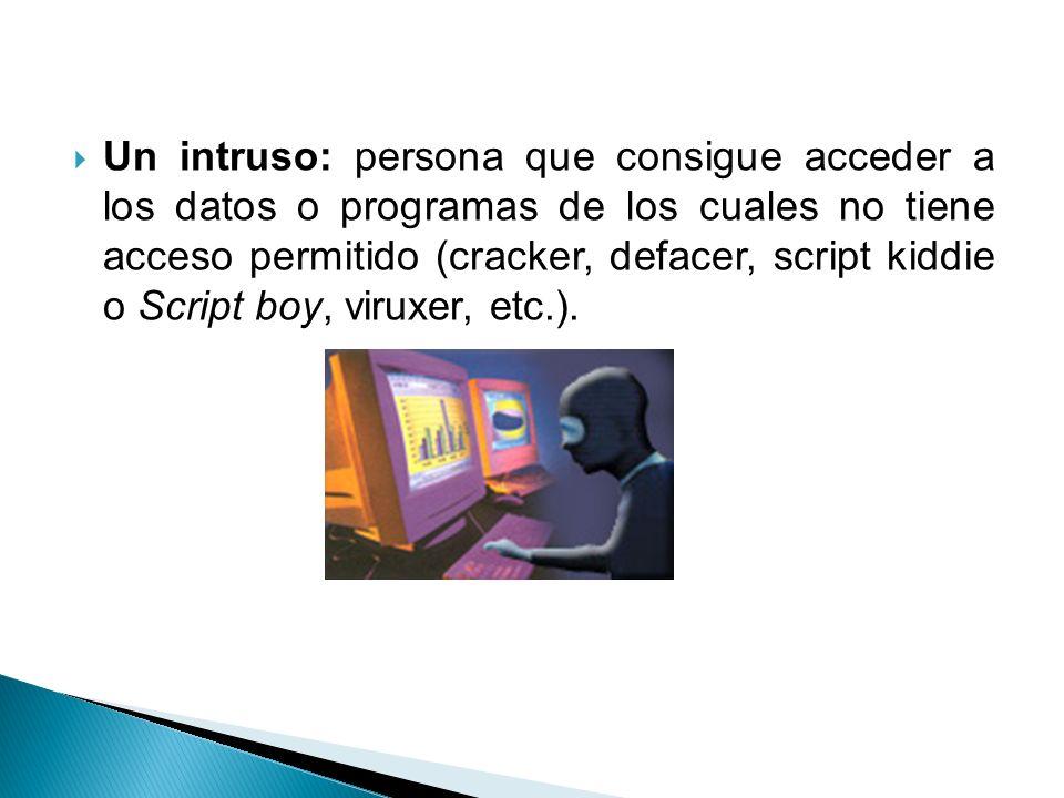 Un intruso: persona que consigue acceder a los datos o programas de los cuales no tiene acceso permitido (cracker, defacer, script kiddie o Script boy