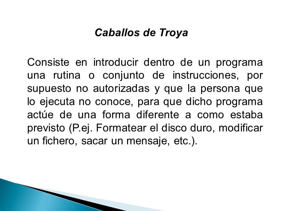 Caballos de Troya Consiste en introducir dentro de un programa una rutina o conjunto de instrucciones, por supuesto no autorizadas y que la persona qu