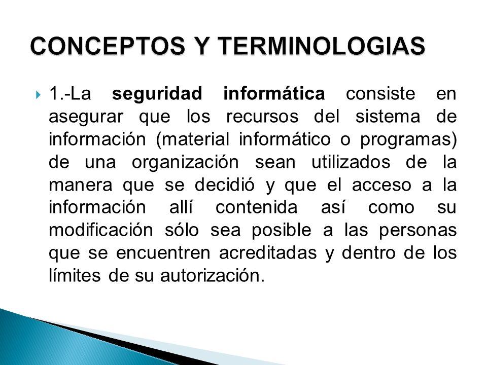 1.-La seguridad informática consiste en asegurar que los recursos del sistema de información (material informático o programas) de una organización se
