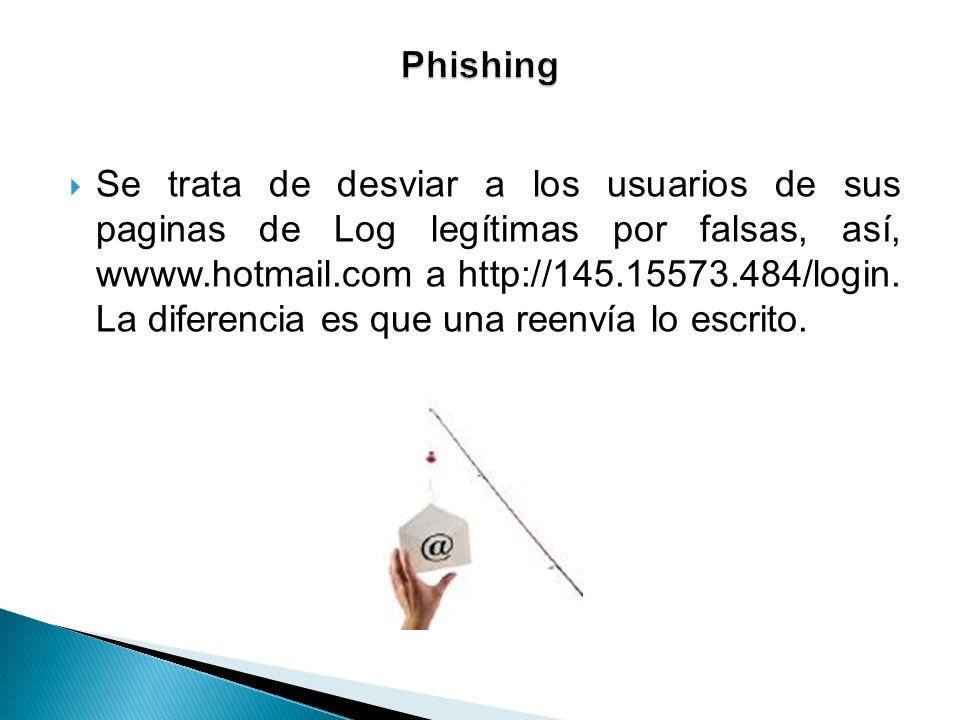 Se trata de desviar a los usuarios de sus paginas de Log legítimas por falsas, así, wwww.hotmail.com a http://145.15573.484/login. La diferencia es qu
