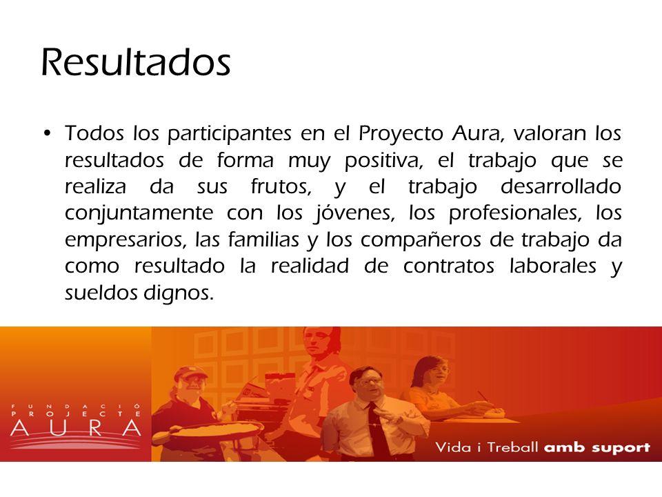 Resultados Todos los participantes en el Proyecto Aura, valoran los resultados de forma muy positiva, el trabajo que se realiza da sus frutos, y el tr