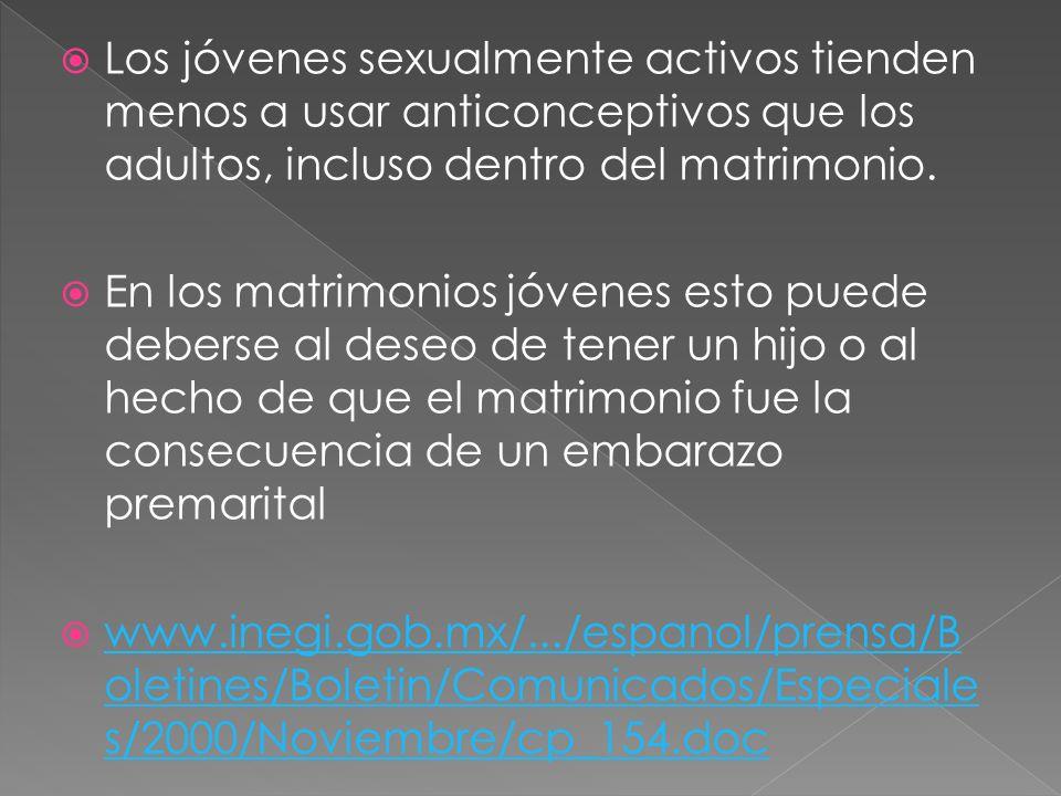 Los jóvenes sexualmente activos tienden menos a usar anticonceptivos que los adultos, incluso dentro del matrimonio. En los matrimonios jóvenes esto p