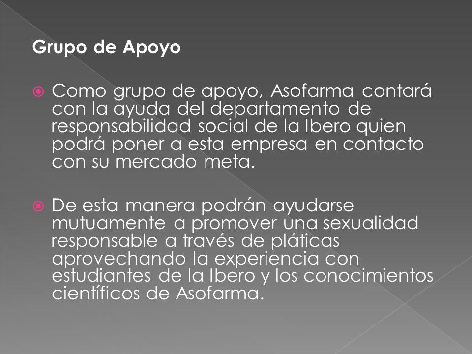 Grupo de Apoyo Como grupo de apoyo, Asofarma contará con la ayuda del departamento de responsabilidad social de la Ibero quien podrá poner a esta empr