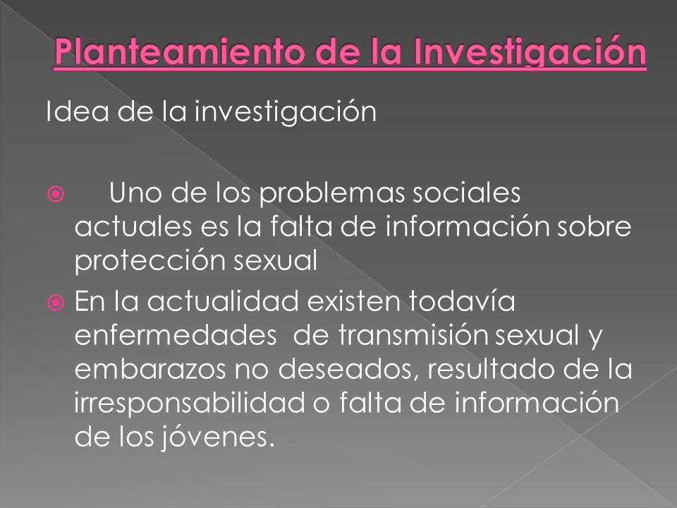 Idea de la investigación Uno de los problemas sociales actuales es la falta de información sobre protección sexual En la actualidad existen todavía en