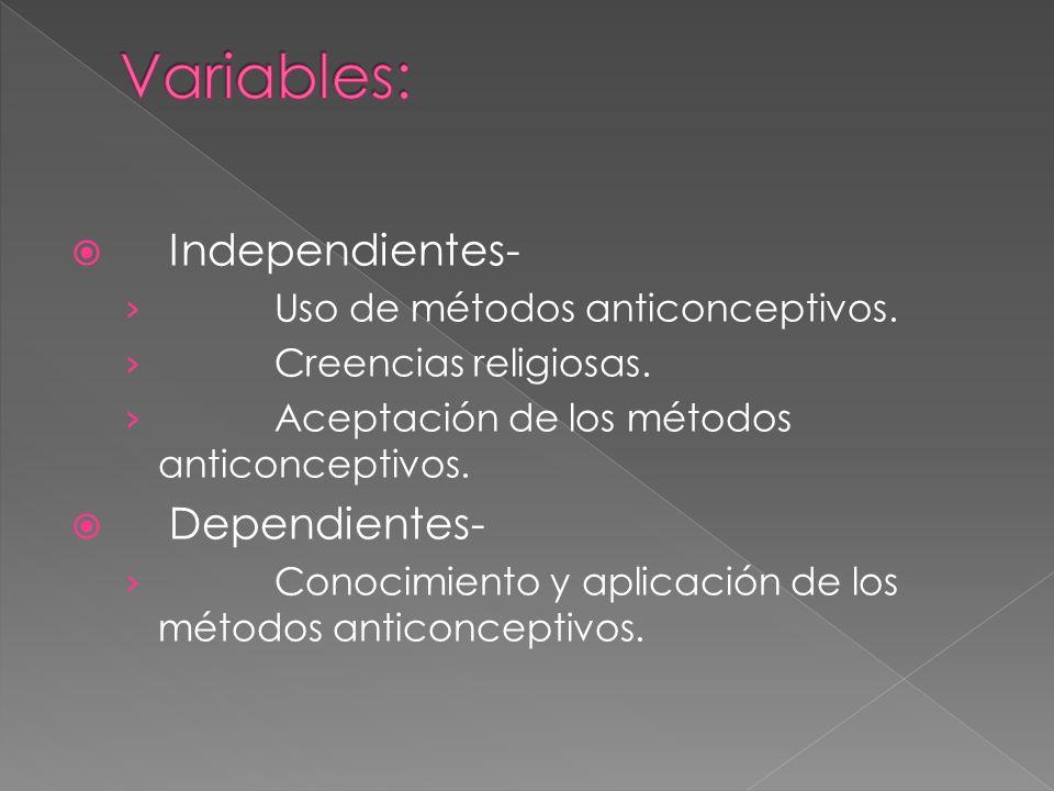 Independientes- Uso de métodos anticonceptivos. Creencias religiosas. Aceptación de los métodos anticonceptivos. Dependientes- Conocimiento y aplicaci