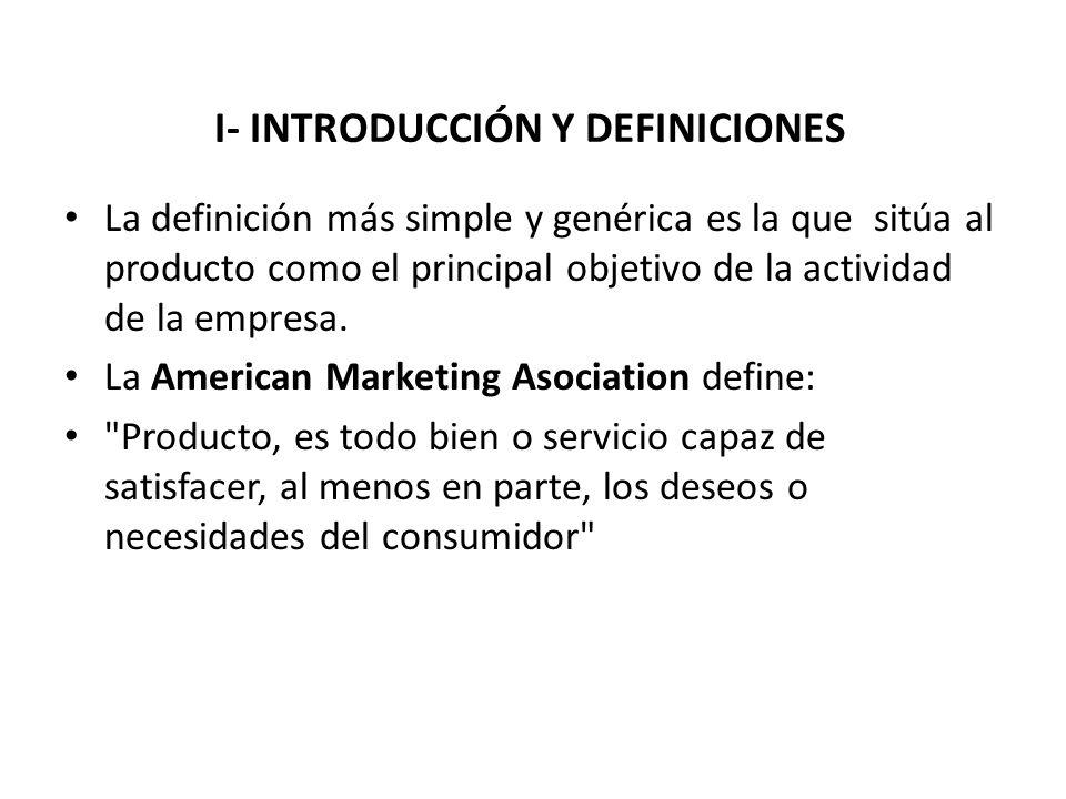 I- INTRODUCCIÓN Y DEFINICIONES La definición más simple y genérica es la que sitúa al producto como el principal objetivo de la actividad de la empres