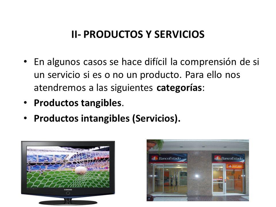 II- PRODUCTOS Y SERVICIOS En algunos casos se hace difícil la comprensión de si un servicio si es o no un producto. Para ello nos atendremos a las sig