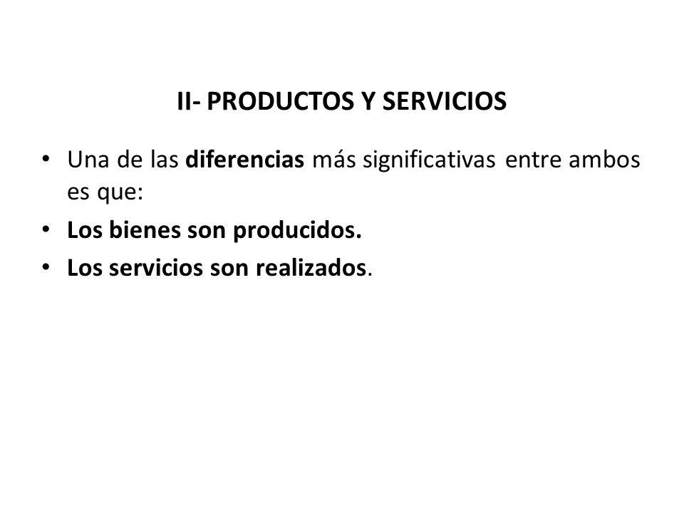 Una de las diferencias más significativas entre ambos es que: Los bienes son producidos. Los servicios son realizados.