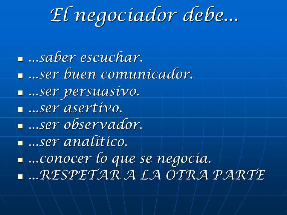 El negociador debe......saber escuchar....saber escuchar....ser buen comunicador....ser buen comunicador....ser persuasivo....ser persuasivo....ser as