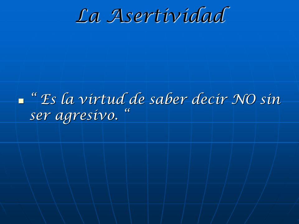 La Asertividad Es la virtud de saber decir NO sin ser agresivo. Es la virtud de saber decir NO sin ser agresivo.