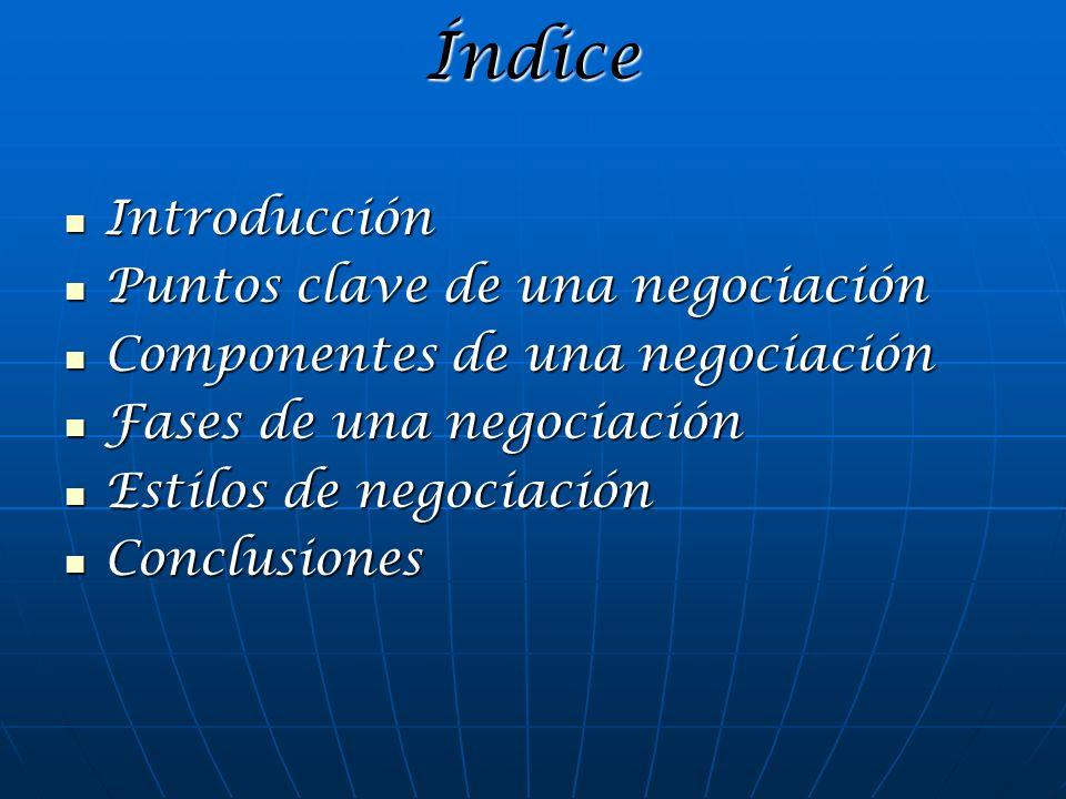 Índice Introducción Introducción Puntos clave de una negociación Puntos clave de una negociación Componentes de una negociación Componentes de una neg