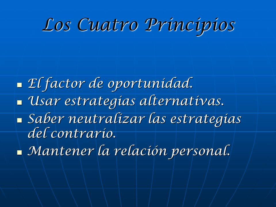 Los Cuatro Principios El factor de oportunidad. El factor de oportunidad. Usar estrategias alternativas. Usar estrategias alternativas. Saber neutrali