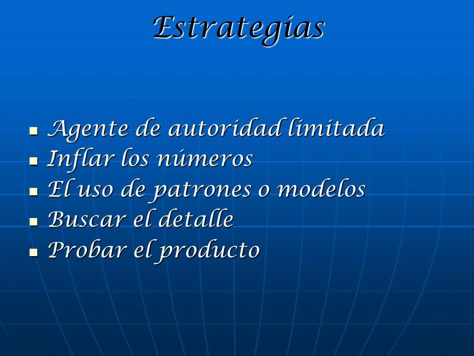 Estrategias Agente de autoridad limitada Agente de autoridad limitada Inflar los números Inflar los números El uso de patrones o modelos El uso de pat
