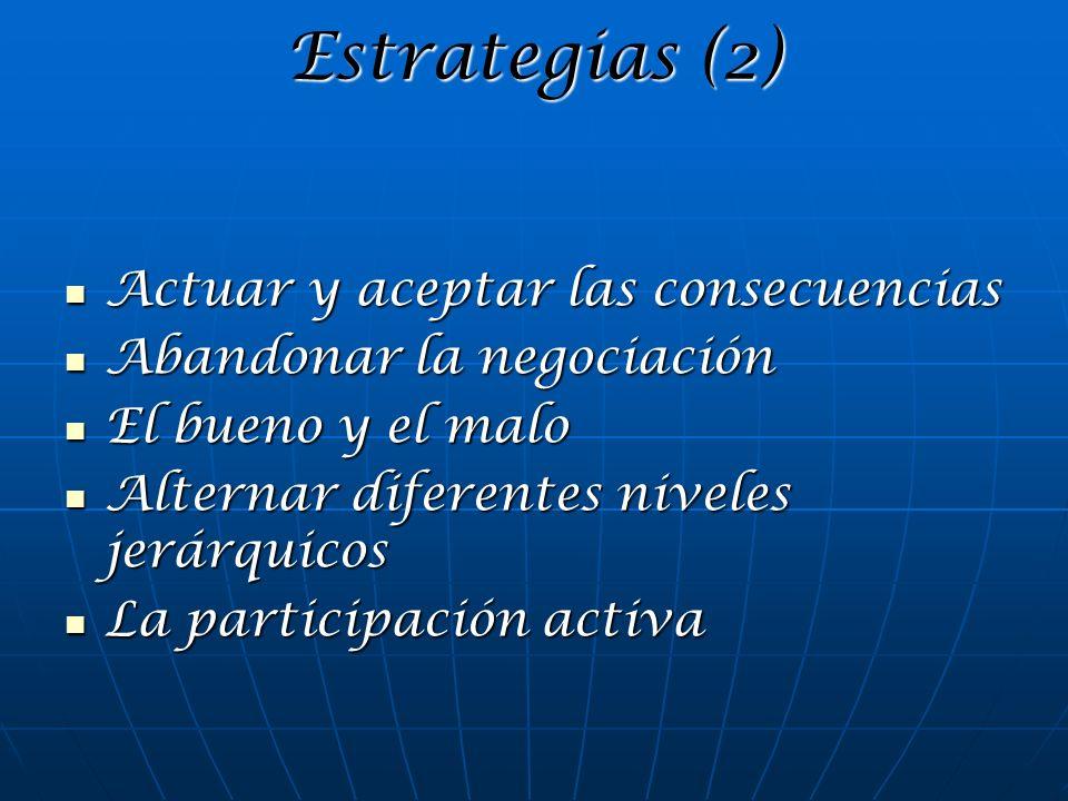 Estrategias (2) Actuar y aceptar las consecuencias Actuar y aceptar las consecuencias Abandonar la negociación Abandonar la negociación El bueno y el