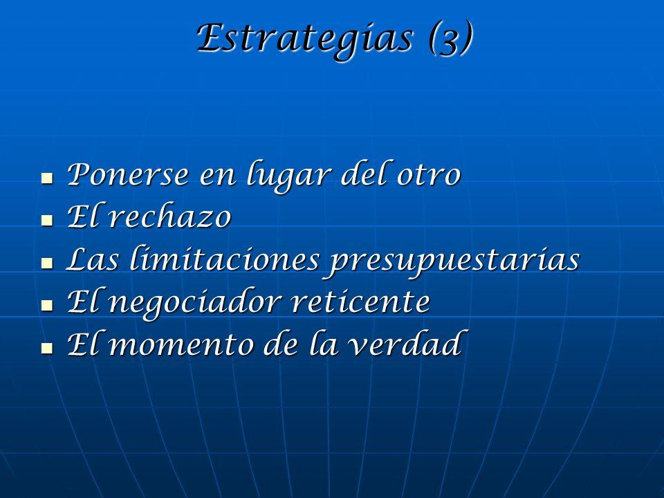 Estrategias (3) Ponerse en lugar del otro Ponerse en lugar del otro El rechazo El rechazo Las limitaciones presupuestarias Las limitaciones presupuest