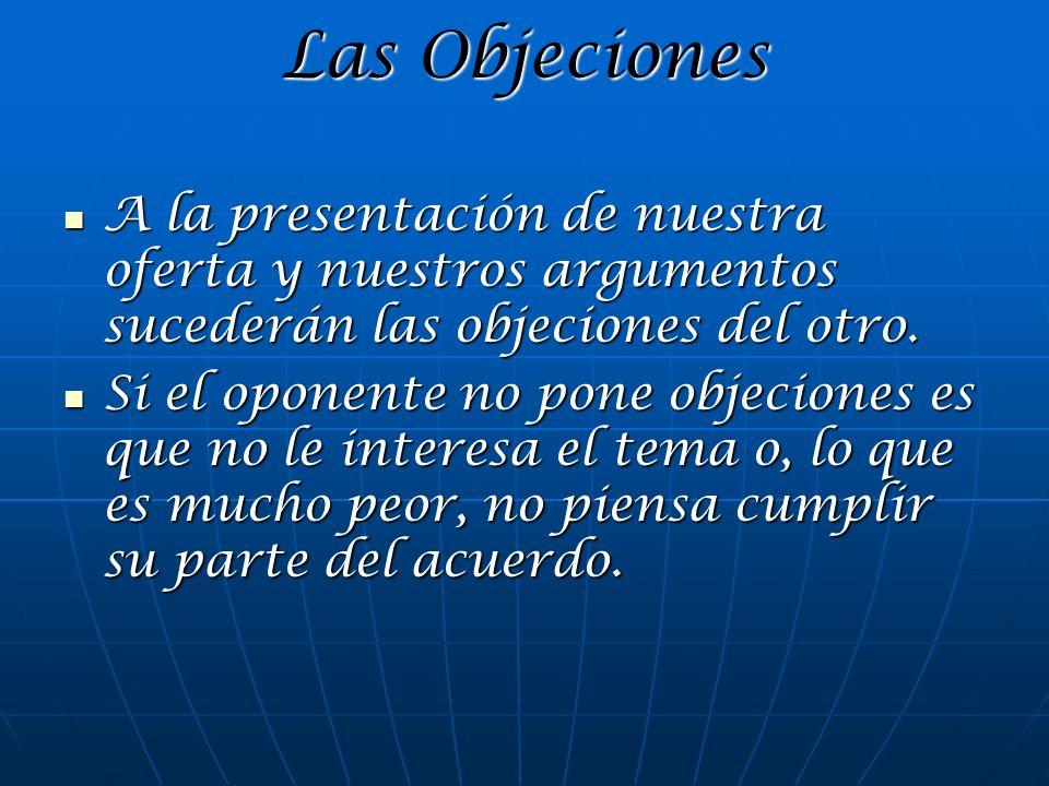 Las Objeciones A la presentación de nuestra oferta y nuestros argumentos sucederán las objeciones del otro. A la presentación de nuestra oferta y nues