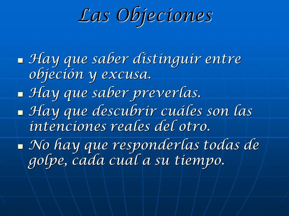 Las Objeciones Hay que saber distinguir entre objeción y excusa. Hay que saber distinguir entre objeción y excusa. Hay que saber preverlas. Hay que sa
