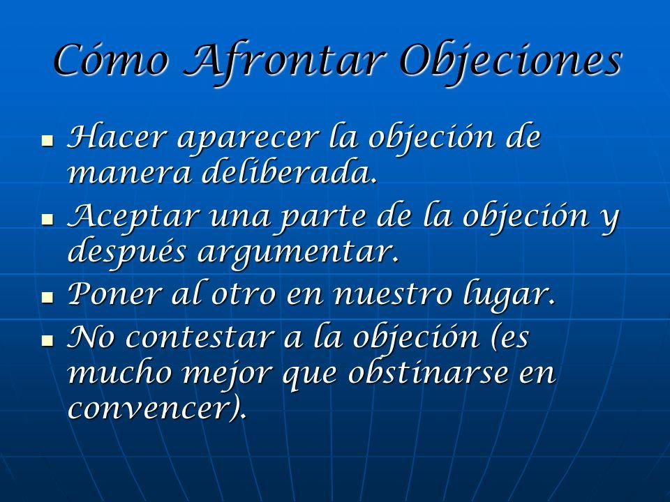 Cómo Afrontar Objeciones Hacer aparecer la objeción de manera deliberada. Hacer aparecer la objeción de manera deliberada. Aceptar una parte de la obj