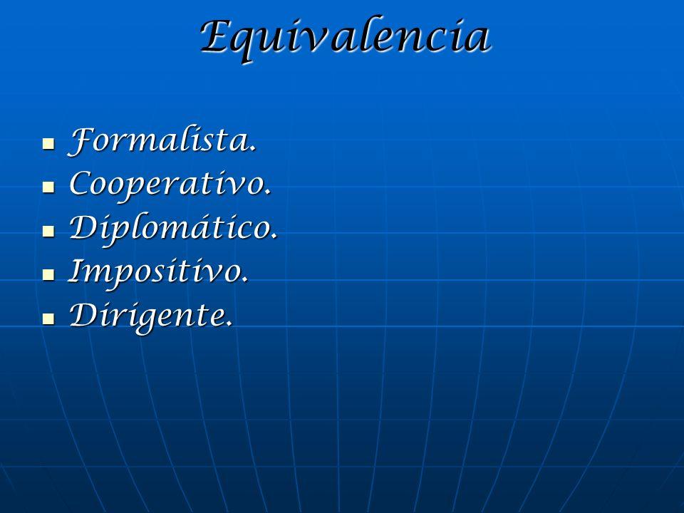 Equivalencia Formalista. Formalista. Cooperativo. Cooperativo. Diplomático. Diplomático. Impositivo. Impositivo. Dirigente. Dirigente.