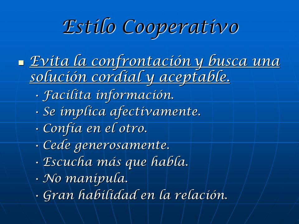 Estilo Cooperativo Evita la confrontación y busca una solución cordial y aceptable. Evita la confrontación y busca una solución cordial y aceptable. F