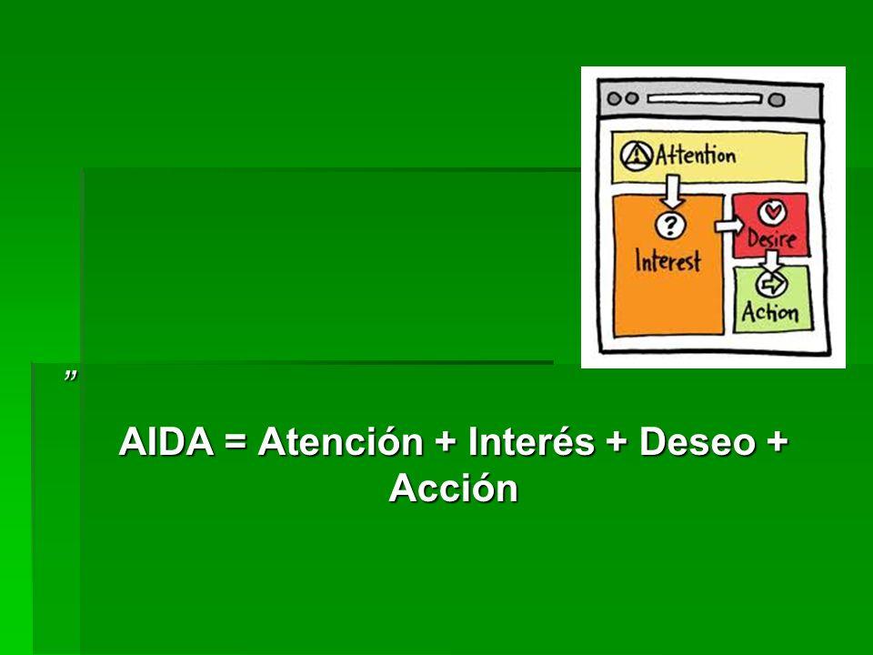 AIDA = Atención + Interés + Deseo + Acción