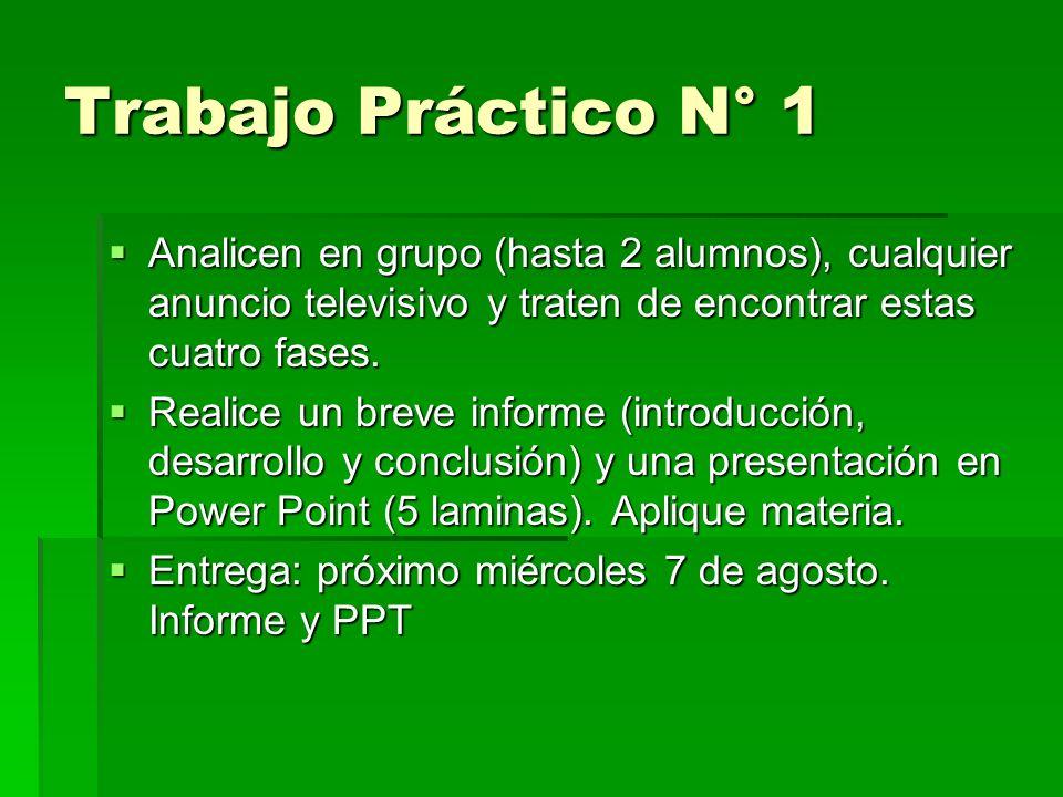 Trabajo Práctico N° 1 Analicen en grupo (hasta 2 alumnos), cualquier anuncio televisivo y traten de encontrar estas cuatro fases. Analicen en grupo (h