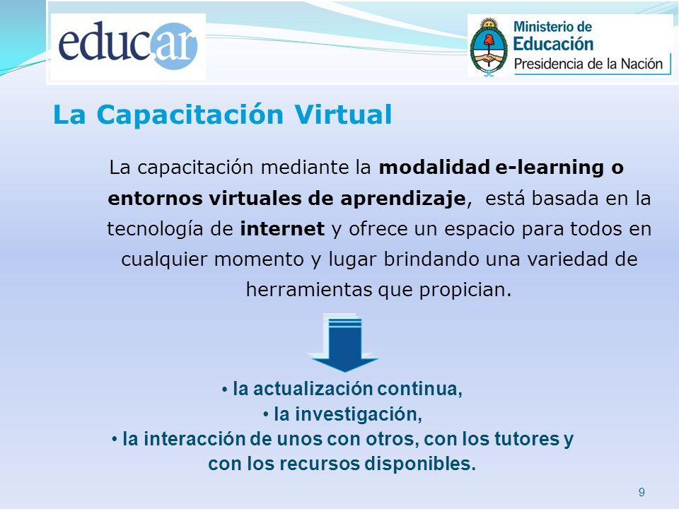 9 La capacitación mediante la modalidad e-learning o entornos virtuales de aprendizaje, está basada en la tecnología de internet y ofrece un espacio para todos en cualquier momento y lugar brindando una variedad de herramientas que propician.