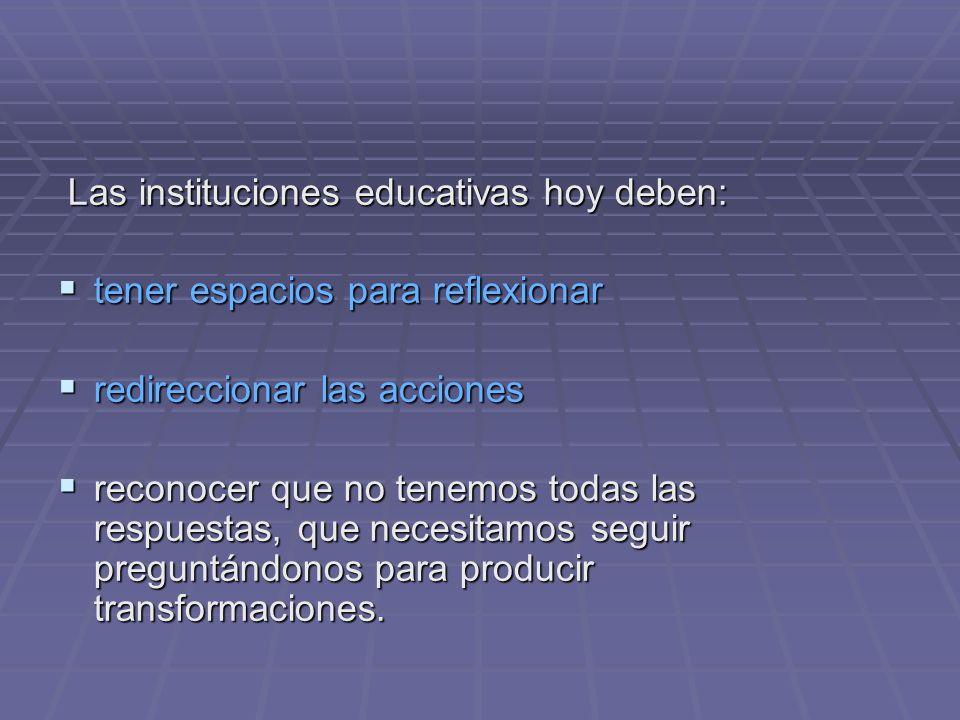 Las instituciones educativas hoy deben: Las instituciones educativas hoy deben: tener espacios para reflexionar tener espacios para reflexionar redire