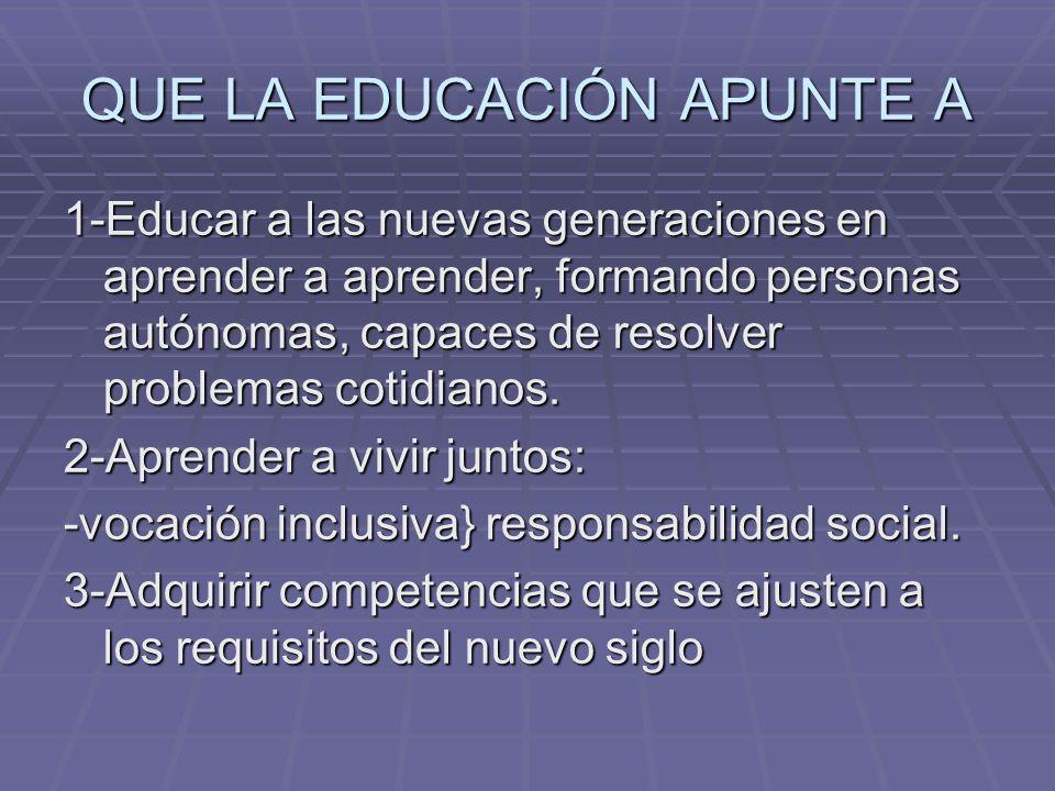 QUE LA EDUCACIÓN APUNTE A 1-Educar a las nuevas generaciones en aprender a aprender, formando personas autónomas, capaces de resolver problemas cotidi