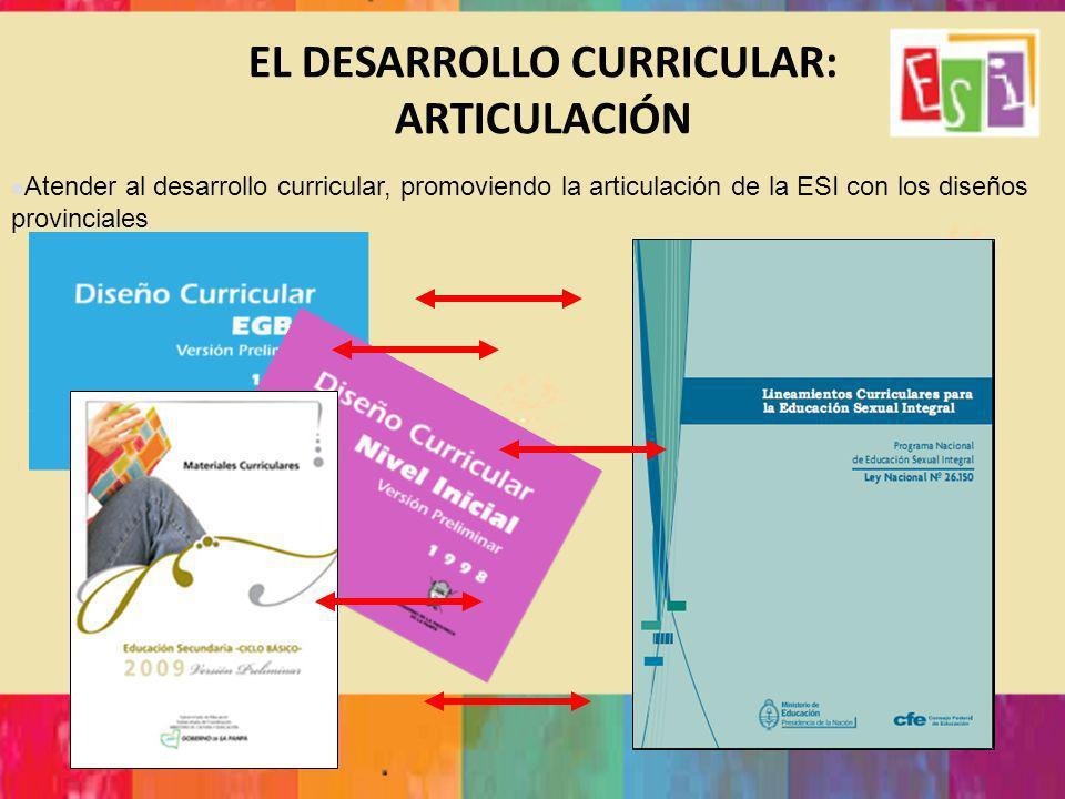 EL DESARROLLO CURRICULAR: ARTICULACIÓN Atender al desarrollo curricular, promoviendo la articulación de la ESI con los diseños provinciales