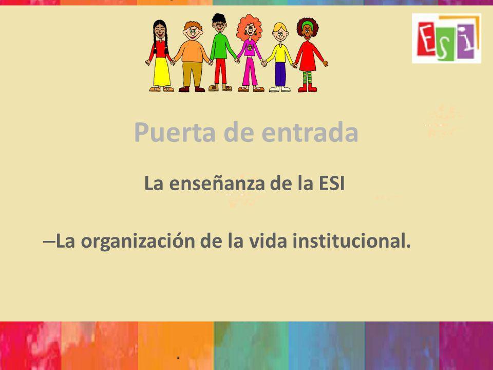 Puerta de entrada La enseñanza de la ESI – La organización de la vida institucional.