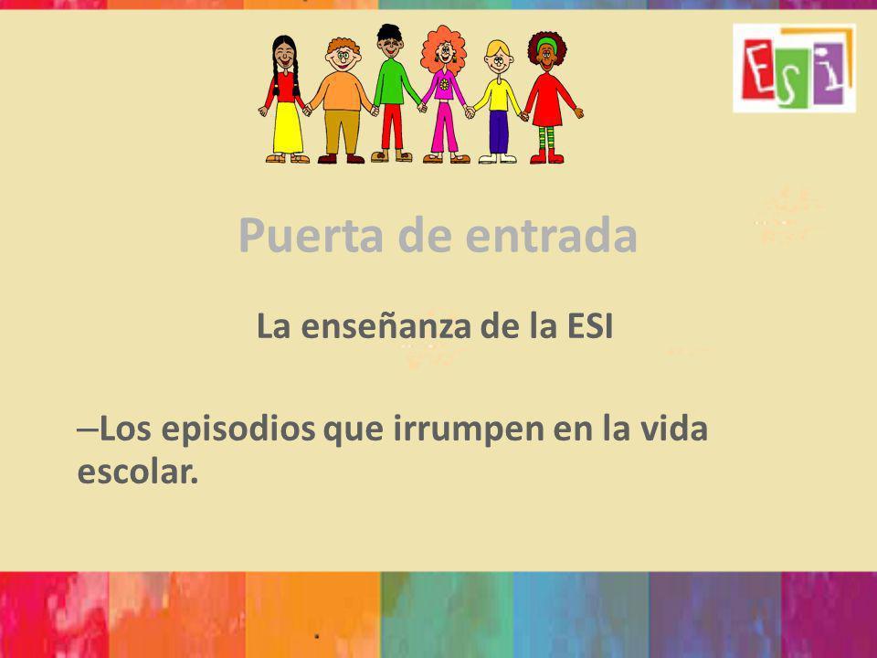 Puerta de entrada La enseñanza de la ESI – Los episodios que irrumpen en la vida escolar.