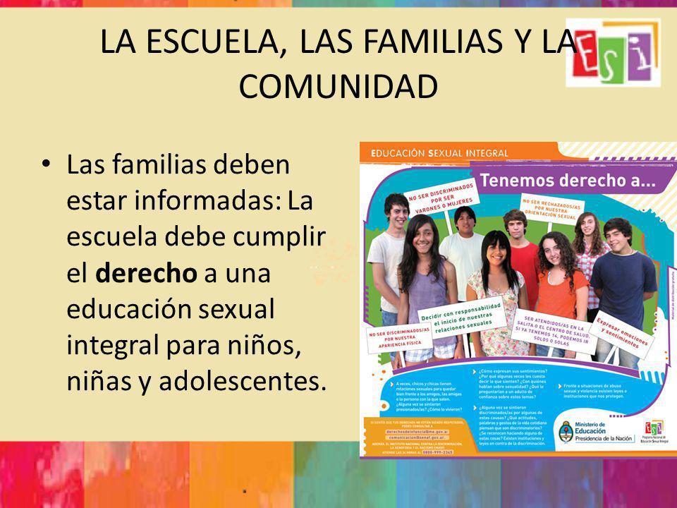 LA ESCUELA, LAS FAMILIAS Y LA COMUNIDAD Las familias deben estar informadas: La escuela debe cumplir el derecho a una educación sexual integral para n