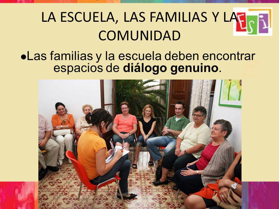 LA ESCUELA, LAS FAMILIAS Y LA COMUNIDAD Las familias y la escuela deben encontrar espacios de diálogo genuino.