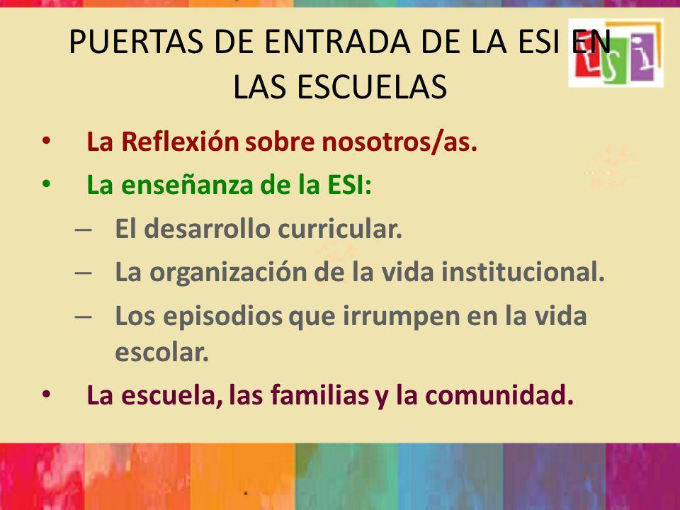 PUERTAS DE ENTRADA DE LA ESI EN LAS ESCUELAS La Reflexión sobre nosotros/as. La enseñanza de la ESI: – El desarrollo curricular. – La organización de