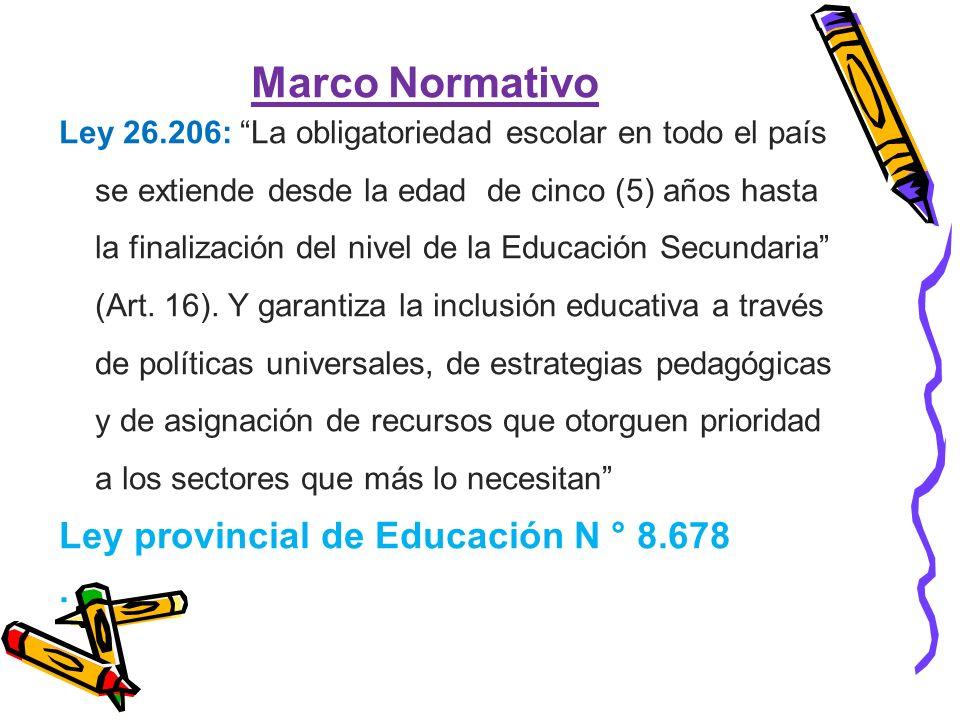 Marco Normativo Ley 26.206: La obligatoriedad escolar en todo el país se extiende desde la edad de cinco (5) años hasta la finalización del nivel de la Educación Secundaria (Art.