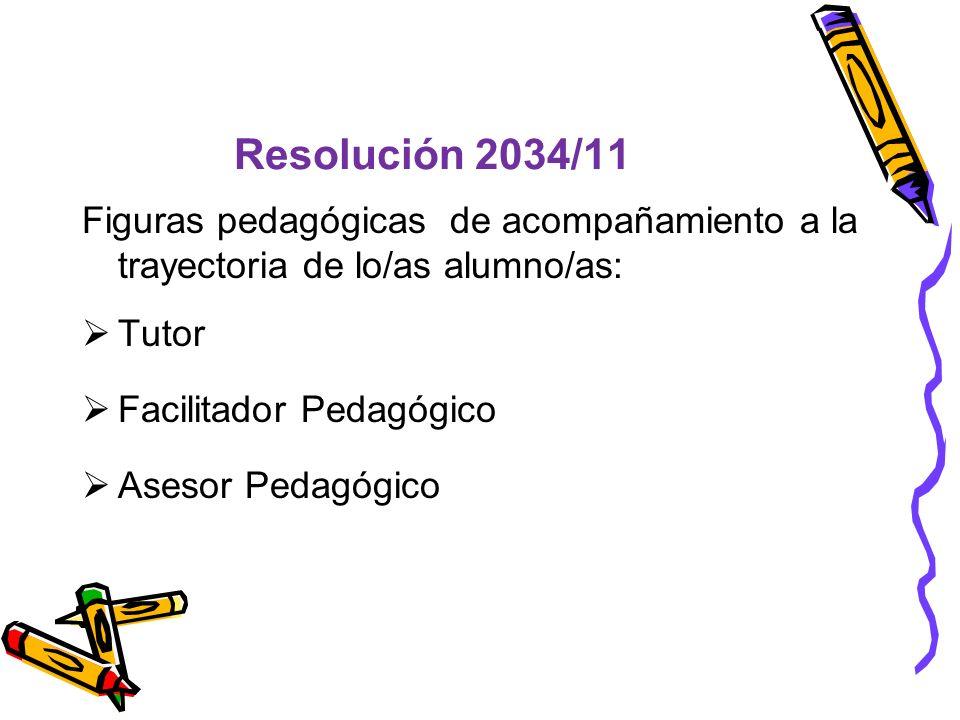 Resolución 2034/11 Figuras pedagógicas de acompañamiento a la trayectoria de lo/as alumno/as: Tutor Facilitador Pedagógico Asesor Pedagógico