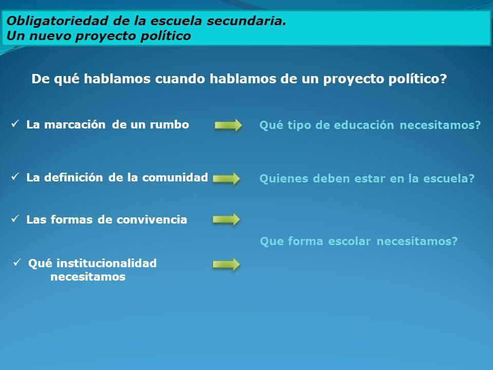 Obligatoriedad de la escuela secundaria. Un nuevo proyecto político De qué hablamos cuando hablamos de un proyecto político? La marcación de un rumbo
