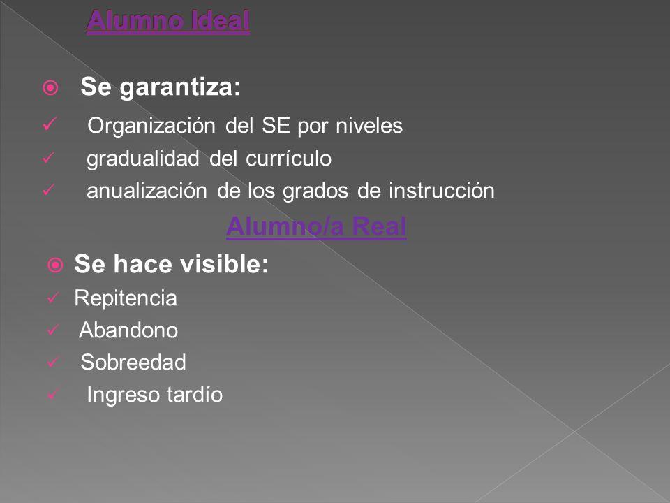 Se garantiza: Organización del SE por niveles gradualidad del currículo anualización de los grados de instrucción Alumno/a Real Se hace visible: Repit
