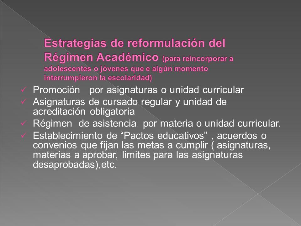 Promoción por asignaturas o unidad curricular Asignaturas de cursado regular y unidad de acreditación obligatoria Régimen de asistencia por materia o