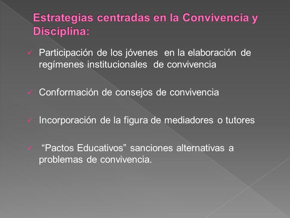 Participación de los jóvenes en la elaboración de regímenes institucionales de convivencia Conformación de consejos de convivencia Incorporación de la