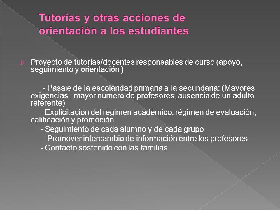 Proyecto de tutorías/docentes responsables de curso (apoyo, seguimiento y orientación ) - Pasaje de la escolaridad primaria a la secundaria: (Mayores