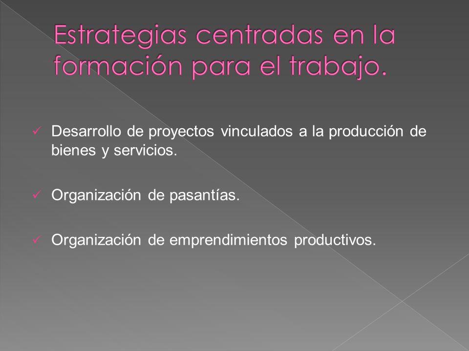 Desarrollo de proyectos vinculados a la producción de bienes y servicios. Organización de pasantías. Organización de emprendimientos productivos.